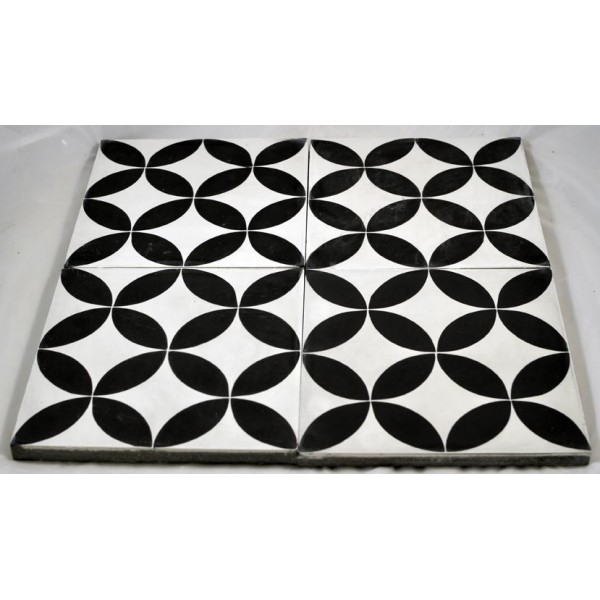 Carreaux ciment ellipse noire fond blanc tradicim l for Prix carreaux ciment